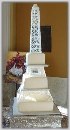 Eiffel Tower Wedding Cake by Herecomesthecakebyjudi Sandlin on Pinterest