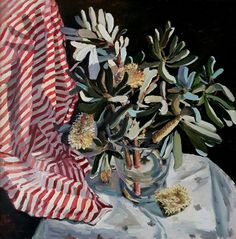 Jane Guthleben, Banksia and Drape , 2017, Oil on Board, 70 x 70 cm, .M Contemporary, Art Gallery, 37 Ocean St, Woollahra, NSW, enquire at gallery@mcontemp.com