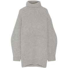 Acne Studios Isa ribbed wool turtleneck sweater ($385) ❤ liked on Polyvore featuring tops, sweaters, dresses, shirts, grey, wool turtleneck, wool sweaters, oversized wool sweater, oversized turtleneck sweater and ribbed turtleneck