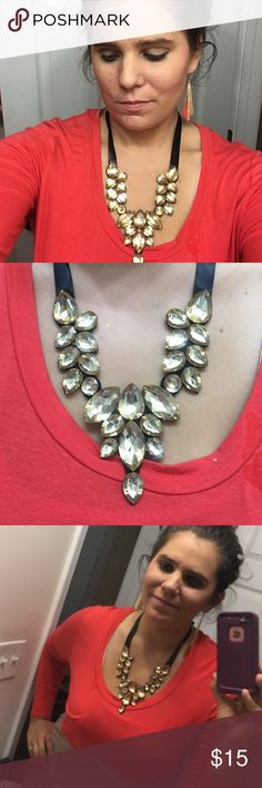 Tear drop rhinestone necklace Costume jewelry, super cute, looks good with everything, bronze color, black felt backing, black ribbon tie.  Only 4 left Jewelry Necklaces