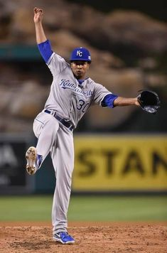 Kansas City Royals starting pitcher Yordano Ventura (30) threw a pitch in the second inning against the Los Angeles Angels during Friday's ALDS baseball game on October 3, 2014 at Angels Stadium in Anaheim, Calif.
