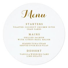Wedding Menu Printable Round Wedding Menu Circle Menu Menu