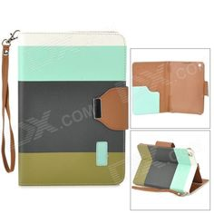 Brand: N/A; Model: ZS0012; Quantity: 1 Piece; Color: White + blue + black + green; Material: PU leather + plastic; Compatible Models: Ipad MINI with Retina Display; Auto Wake-up / Sleep: YES; Other Features: With 3 card holder slots; Anti-slip design; Protects your device from scratches dust and shock; Comes with hand strap; Packing List: 1 x Protective case; http://j.mp/1oJkTOl