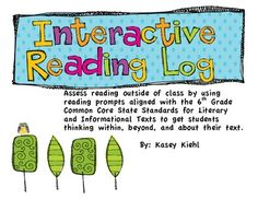 6th Grade Interactive Reading Log: Common Core Aligned - Kasey Kiehl - TeachersPayTeachers.com
