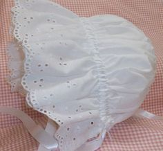 Sun Bonnet, Baby Bonnet,Easter Bonnet Pretty All White Cotton with Eyelet Ruffle,  Trimmed with Satin Ribbon and Rose