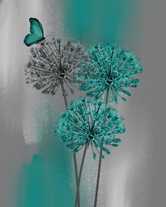 Teal Gray Modern Floral Butterfly Decor, Teal Bedroom Bathroom Wall Art Picture Status: Availa...