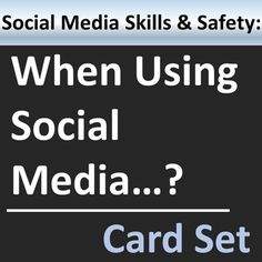 Stay safe when using social media. Great group activity or writing prompts to consider situations involving workplace social media usage. Social Media Safety, Social Media Usage, Social Skills, Anxiety Coping Skills, Safety Awareness, Career Exploration, Workplace Safety, Career Counseling, Group Activities