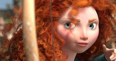 The fact she has ginger hair and bright blue eyes is intentional, because orange and blue are opposite colors which make them look appealing to the eye when combined, therefore the orange hair and blue eyes give Merida an appealing and harmonized look that attracts the viewer's eye.