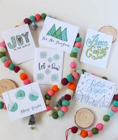 Blue Greens Holiday Card Set | Set of 12 Hand Lettered Illustrated Christmas Cards by AdventureofLetters on Etsy