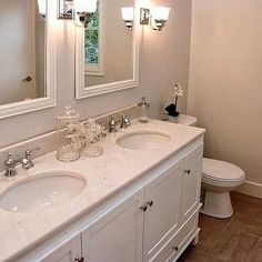 Lux Decor - bathrooms - greige walls, greige bathroom, greige wall color, white framed mirrors, white vanity mirrors, white bathroom mirrors