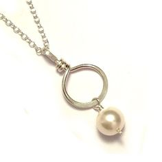 Pearl Drop Sterling Silver Circle Bridal Necklace - £17.00 from Kian Designs