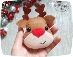 Christmas ornaments felt Rudolph Reindeer ornament Christmas felt ornaments The red nose reindeer ornament Christmas tree decorations by MyMagicFelt on Etsy Felt Christmas Decorations, Felt Christmas Ornaments, Reindeer Christmas, Christmas Stocking, Homemade Christmas, Christmas Crafts, Felt Gifts, Reindeer Ornaments, 242
