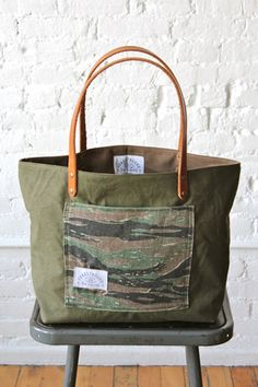WWII era US Military Camo Pocket Tote Bag - FORESTBOUND