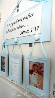 DIY - christening, baptism present for baby boy. Quote, bible quote, sign photo DIY, tutorial on the blog: