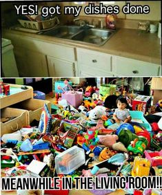 This is complete truth!!! I get one room clean and this happens in another #parentinghumor