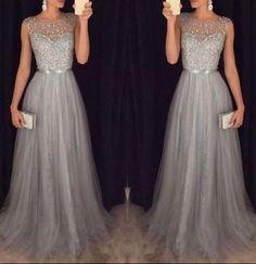 gray prom dress, long prom dress, formal prom dress, charming prom dress, formal evening gown, BD68