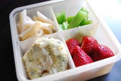 Risotto or Fish Cakes, Pasta, Fresh Strawberries, and Celery