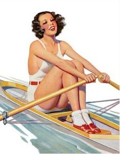 Vintage Pinup Girl Retro Pin-Up Rowing Postcard Row Row Row, Row Row Your Boat, The Row, Pin Up Posters, Girl Posters, Travel Posters, Rowing Memes, Canoa Kayak, Deporte