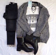 Marled cardigan, cute t shirt, dark skinnies, black combat boots