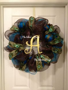 Brown and Turquoise Peacock Deco Mesh Wreath by TheZebrasStripe ETSY