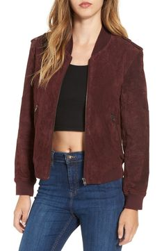 In love with this classically cool bomber jacket detailed with military-inspired epaulets, front zip pockets and comfy rib-knit trim.