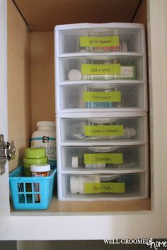 Organizing A Medicine Cabinet With Washi Tape Organization Bathroom Closet Small
