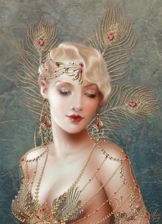 """Delphine"" by Mystic Stitch Fantasy Women, Fantasy Art, Pinturas Art Deco, Moda Art Deco, Retro, Photo Portrait, Fairy Art, Pin Up Art, Up Girl"