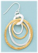 pierced earrings silver French hook with multi two Tone Wavy Circles