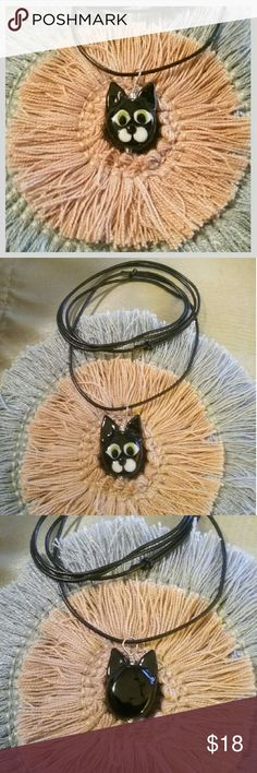 """🎁 Cool Cat Glass Art Fun Necklace 🐱 🎁 The perfect gift for the young at Heart, this unique piece of art is """"created by heating rods of glass in a 2,000° flame"""".  Handmade in Brooklyn, NY, USA, by glass artist Roxann Astra Slate, the 1"""" pendant hangs from a 30"""" adjustable leather cord.  It is made from glass, sterling silver, & leather cord.   And it's even cuter in person!   🛍 Bundle and Save More! Roxann Slate Jewelry Necklaces"""