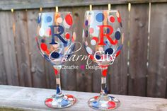 New York Giants themed Personalized Wine Glasses patriotic USA military 4th of July Labor Day on Etsy, $10.00
