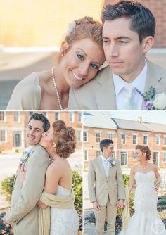 tan groom suit / pearls / tan shawl / lace wedding dress / purple boutineer
