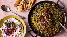 herb rice with green garlic, saffron, and crispy shallots - cilantro, dill, parsley, mint, tarragon, saffron, lavash, green garlic - can serve with lentils