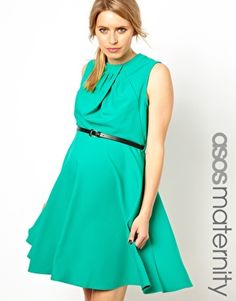 ASOS Maternity Workwear Skater Dress with Twisted Neck
