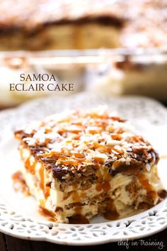 NO BAKE Samoa Eclair Cake. this dessert has layers of creamy chocolate caramel graham cracker heaven! One of the BEST desserts I have ever had! Orig recipe used fake cool whip and instant pudding -- YUCK I change it to all real food 13 Desserts, Layered Desserts, Dessert Recipes, Baking Desserts, Cake Baking, Plated Desserts, French Desserts, Gourmet Desserts, Healthy Desserts