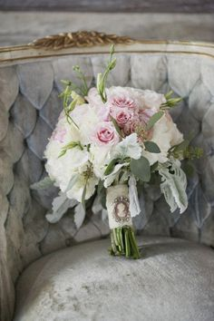 soft pastels in this bridal bouquet tied up with a brooch Flower Bouquet Wedding, Rose Bouquet, Pastel Bouquet, Bridal Bouquets, Wedding Photoshoot, Wedding Details, Floral Arrangements, Beautiful Flowers, Marie