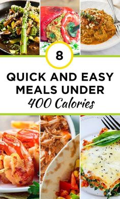 8 Quick and Easy Meals under 400 Calories that wont wreak havoc on your waistline! Fast food is no match for these quick meals under 400 calories. Save your weight loss progress and stick to these after a long day. 400 Calorie Dinner, 400 Calorie Meals, No Calorie Foods, Low Calorie Recipes, Healthy Dinner Recipes, Healthy Meals, Healthy Weight, Meals Under 400 Calories, 500 Calories