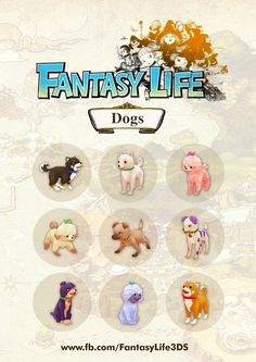 Dogs! Here are some of the furry companions that you can adopt in Fantasy Life!   Pet merchants are available in various towns throughout Reveria. Each offering up to three different pet styles for each animal.   Pets can assist you during battles too. This is especially helpful if you have chosen a non-combative life class earlier in the game.