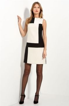 NWT-Milly-Black-Ivory-Colorblock-Wool-Jacquard-Mina-Shift-Dress-Size-4-435
