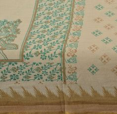 Peacock--Antique Vintage Blend Cotton Saree Cream Printed Sari Home Décor Craft Fabric