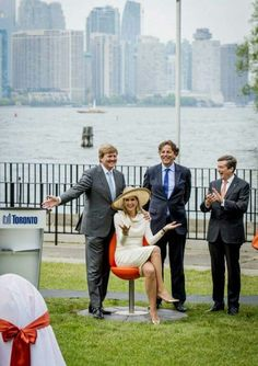 On their May 2015 State Visit to Canada, King Willem Alexander and Queen Maxima presented the city of Torono with 7 'Tulpi' chairs, which resemble the Netherlands' official flower, the tulip. Here Queen Maxima is shown sitting in one that is pulled down to make a seat.