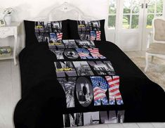 New York Black Printed Modern Duvet Covers Bedding Set With Pillowcases All Size King Size Bedding Sets, Best Bedding Sets, Luxury Bedding Sets, Comforter Cover, Duvet Bedding, Pink Bedding, Comforter Sets, Damask Bedding, White Bedding