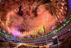Finale: The closing ceremony in the Olympic Stadium provided one of the most spectacular fireworks displays Britain has ever seen