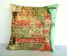 vintage city maps CHICAGO map cushion cover by mybeardedpigeon, $55.00