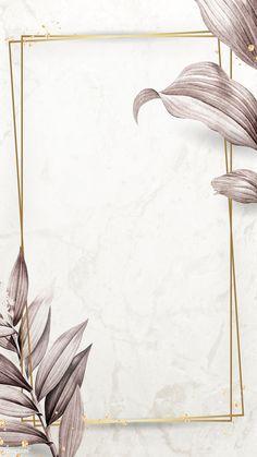 Download premium illustration of Golden frame on leafy background mobile