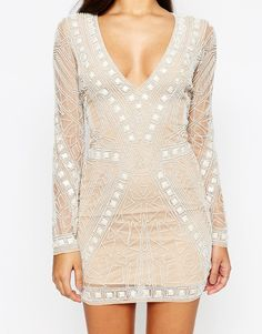 Image 3 of Missguided Premium Geo Embellished Bodycon Mini Dress