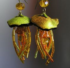 New Price Fabulous Iridescent ORANGE GREEN GOLD Jellyfish Earrings