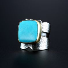 Kingman Turquoise Ring. Fabricated Sterling Silver and 18k Gold. www.amybuettner.com https://www.facebook.com/pages/Metalsmiths-Amy-Buettner-Tucker-Glasow/101876779907812?ref=hl https://www.etsy.com/people/amybuettner http://instagram.com/amybuettnertuckerglasow