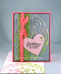 Pensées florales (Floral Phrases) stamp set and Pattern Party Decorative Masks from Stampin' Up!; Nuvo Moonstone Glimmer Paste; Distress Oxide inks - Designed by Cindy Major