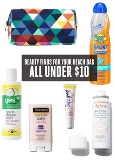 Beauty Finds for Your Beach Bag—All Under $10 - Stocking your beach bag with snacks and good read are a given, but including a few key beauty items is equally important—to keep you going strong long past sunset. (Because a blazing burn would make us pack it in early, too.) Stock your tote with everything from sunscreen and SPF lip balm to facial mist and after-sun cooler and get ready for full day of sun, sand and surf.