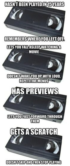 Throwback Thursday | Remembering #VHS Videotapes | From Funny Technology - Community - Google+ via Laughter is Good for the Soul #tech_humor #geek_fumor